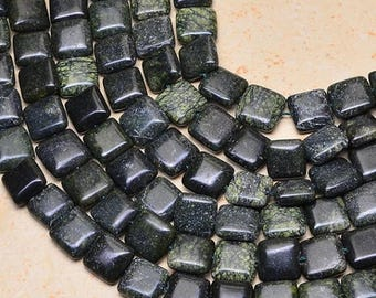 """75% OFF CLEARANCE SALE 10X10X4Mm Natural Surpentine Gemstone Square 15 3/8"""" Beads Strand(1 Strand)"""