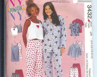 McCalls Junior Girls Pajamas Nightshirt Tops Shorts and Pants PAJAMA Top  Sewing Pattern 3432  Size JA 3-4-5-6-7-8-9-10