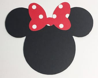 """Disney Minnie Mouse Icon Head Black Cardstock Die Cut Double-Sided Polka Dot Swirl Bow 4"""" Size - Scrapbook Paper Art Craft Party Invitations"""