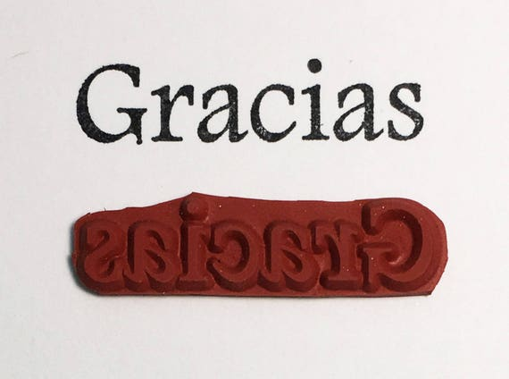 GRACIAS - Altered Attic Rubber Stamp - Thank You Quote Greeting Card Saying Spanish - Art Craft Scrapbook ATC Paper Stationary Gift Tag