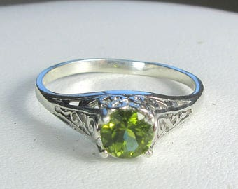 Peridot Ring, Filigree Antique Style Ring, Sterling Silver Ring, AAA Gem, August Birthstone, Engagement Ring, Sz 7 by Maggie McMane Designs