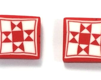 Quilted in Clay! Ohio Star Earrings, Red Post,  Quilt gift, Quilt Earring, Red/White Earrings, Red earrings, Minnesota Made, Sewing gift