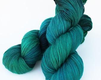 "Hand-dyed Superwash Merino Nylon Sock Yarn, 430 yards 4 oz,  fingering weight, Green Teal ""Emerald"""