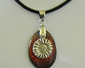 Amber Dichroic Glass w/ Silver Sunflower Charm and bail