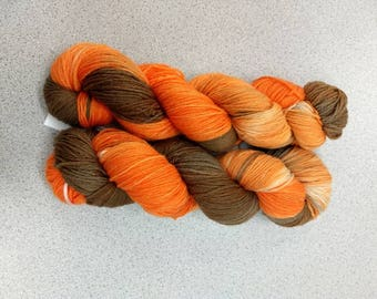 Rumble Sock Yarn Superwash Merino/Nylon Sock Yarn Hand Dyed Sock Yarn Orange, Brown Sock Yarn
