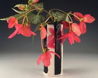 Porcelain Vase Black White Stripes Handmade