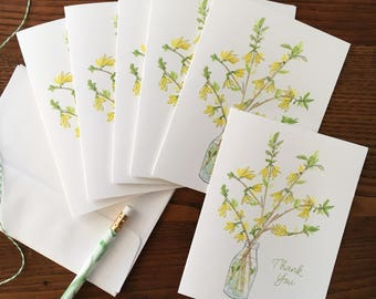 Floral Card. Watercolor Florals. Flower Thank You. Set of 6. Forsythia Cards. Floral Stationery. Blank Card. Botanical Card. Gift Under 20