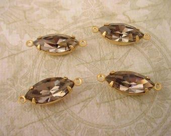 4 Vintage Glass Black Diamond Navette Connector Charms 15x7 brass set Swarovski