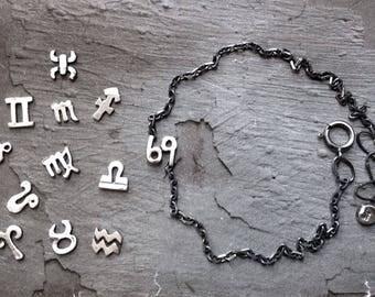 Zodiac Bracelet - Cancer Leo Virgo Jewelry - Zodiac Jewelry - July August September Jewelry - Astrology Jewelry - Sterling Silver Bracelet