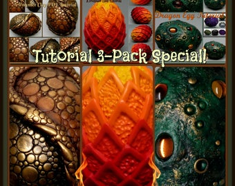 Dragon Eggs,  A Polymer Clay PDF Tutorial 3 Pack Special, Decorated Egg Paperweight, Fantasy Decor, GOT