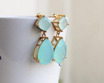 "Summer Sale Angelina Jolie Inspired Aqua Chalcedony Gemstone Gold Dangle stud Earrings 2"" Original Size"