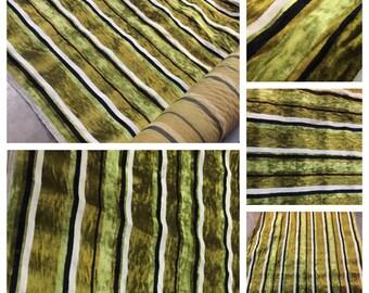 1 Yard of Vintage Avocado Green, Black & White Crushed Velvet Upholstery Fabric