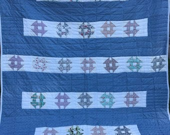 Vintage Blue and White Machine Quilted Churn Dash Quilt