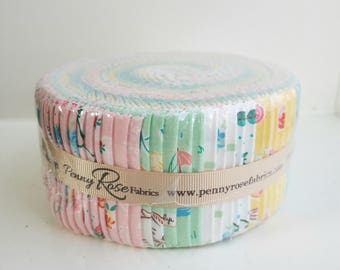 SALE 2.5 inch strips BUNNIES and BLOSSOMS Jelly Roll fabric by Riley Blake Lauren Nash Lutz 40 strips