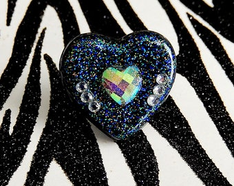 Black Heart Ring, Holographic Resin Adjustable Ring, Soft Grunge, Pastel Goth, Iridescent Sparkle Jewelry