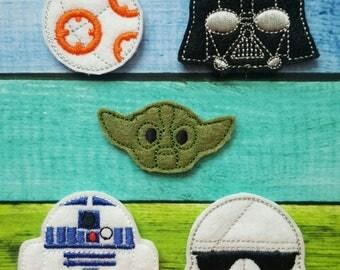 Droid Feltie, Vader Feltie, Yodah Feltie, R2 Feltie, Trooper Feltie, Felt Embellishments * Felt Applique * Hair Bow Supplies