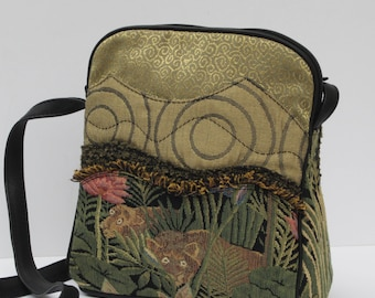SMALL SHOULDER BAG  Fabric and Leather It s a Jungle Out There