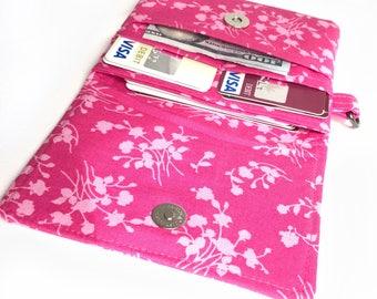 slim pink women wallet fabric card organizer. shabby chic ladies small cotton material minimalist card holder case. wristlet