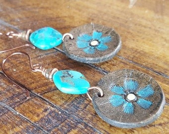 Copper and Turquoise Flower Blossom Earrings - Hand Tooled Leather Earrings - Leather Discs - Western Jewelry - Cowgirl Jewelry