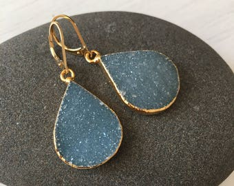 Blue Druzy Drop Earrings,Blue Drop Earrings,Gold Filled Druzy Earrings,gift for her,gift under 100,drusy earrings,geode earrings, teardrops