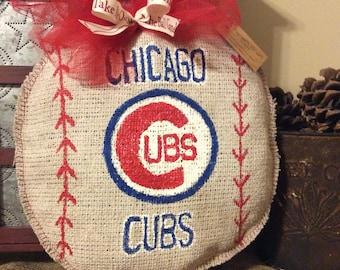 Burlap Chicago Cubs Baseball Wreath