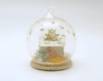 Vintage Christmas Ornament Glass Ornament Mica Putz Nativity Star Diorama West Germany