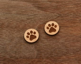 8 pieces of Paw Wood Charm, Carved, Engraved, Earring Supplies, Cabochons (WC 075)