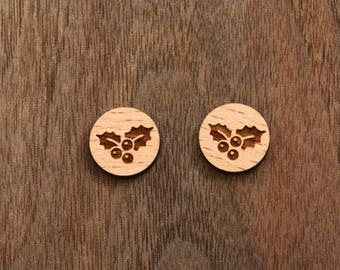 8 pcs Christmas Plant Wood Charm, Carved, Engraved, Earring Supplies, Cabochons (WC 330)