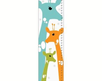 Growth Chart, Giraffe Growth Chart, Blue Giraffe Growth Chart, Custom Growth Chart, Custom Blue Growth Chart,o Canvas Grwth Chart
