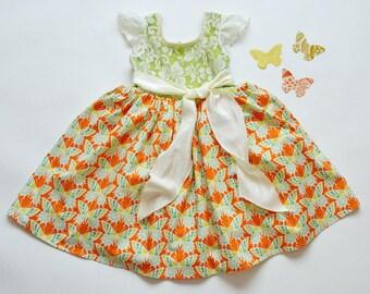 SAMPLE SALE -  Charlotte Dress - Tangerine Rose - Size 3