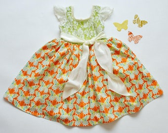 SAMPLE SALE -  Charlotte Dress - Tangerine Rose - Size 4