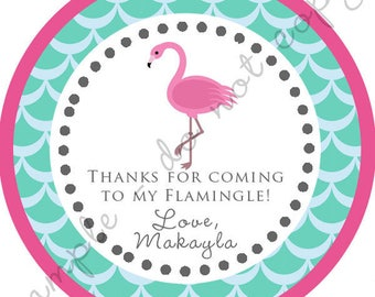 DIY Printable File- Pink Flamingo Party Thank You  Stickers, Tags, Labels- AVERY LABEL 22807