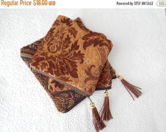 CLEARANCE - Upholstery pouch, dark brown chenille purse, tapestry purse, zipper pouch, lined clutch, fashion accessory, womens accessory, TO
