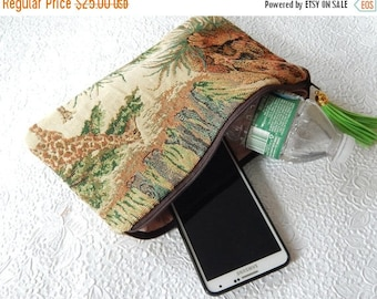 CLEARANCE - Upholstery purse, beige multi purse, tapestry pouch, fabric clutch,  zipper pouch, flat pouch, fashion accessory, womens accesso
