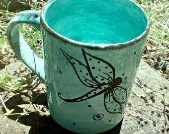 Dragonfly pottery mug in your choice of color custom mug dragonflies mug 16oz 16 ounce mugs made to order pottery drinkware coffe mug tea