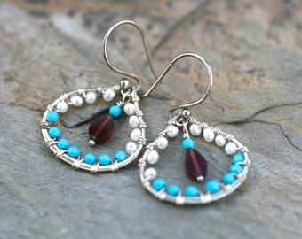 Garnet, Sleeping Beauty Turquoise, White Pearl Sterling Silver Wire Wrapped Teardrop Earrings, Gemstone Earrings, Red, White, Blue Earrings