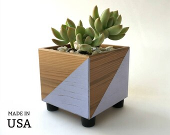 Succulent Planter, Modern Gift for Gardener, Nature Lover, Cube Shaped Geometric Succulent Pot, Cube Succulent Box, Lavender, Green, Gray