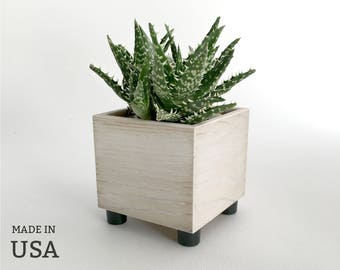White Wood Succulent Planter, Country Rustic Theme Cottage Chic Decor, Wedding Decor, White Distressed Finish