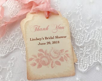 Pink Rose Tags, Thank you Bridal Shower Favor Tags, Set of 10