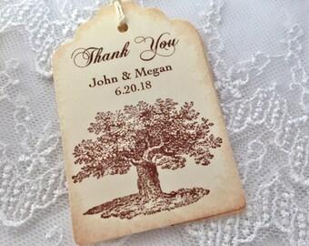 Tree Favor Tags, Oak Tree Tags, Wedding Tree Tags, Set of 10
