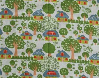 Seventies vintage fabric - 90x80 cm.