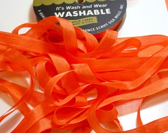 Hug Snug Orange Rayon Seam Binding 1/2 inch wide x 100 yards, Orange Seam Binding