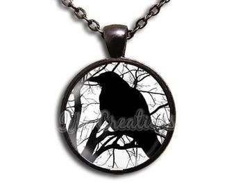 20% OFF - Crow Silhouette - Round Glass Dome Pendant or with Necklace by IMCreations - AN121