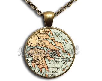 20% OFF - Greece Map Glass Dome Pendant or with Chain Link Necklace SM126