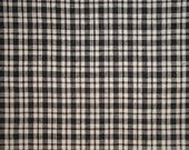 Homespun Material | Cotton Material | Primitive Material | Black And Cream Small Plaid Material | Rag Quilt Material | Home Decor Material