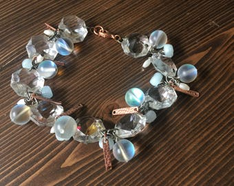 Mermaid Clear Bracelet Chandelier Crystal Rose Gold Copper Blue Stone