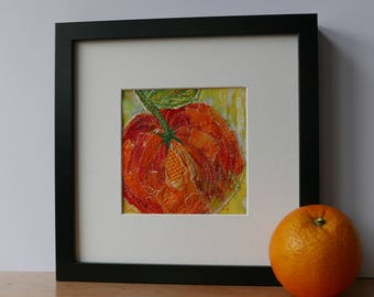 Fruit wall art, original art wall decor, birthday gift, gift for home, contemporary embroidery gift, handmade art textiles, The Jaffa Orange