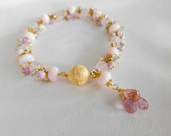 Peruvian Opal - Peruvian Opal Bracelet - Pink Peruvian Opal - Statement Bracelet - Pink Bracelet - Opal Bracelet