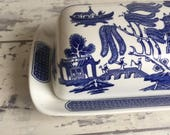 Vintage Blue Willow Butter Dish Butterdish Tab Handle 1/4th pound Covered - Churchill China