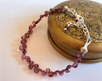 Garnet Bracelet-Red Garnet Briolette Bracelet